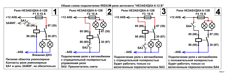 """Общая схема подключенияIRIDIUM реле бесшумное. Автоматическое включение ближнего света, ПТФ, ходовых огней """"Незабудка-5"""""""
